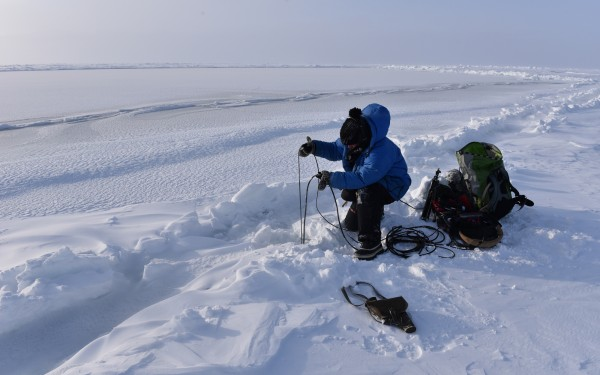 Jana Winderen - recording 15 meters under the Sea Ice by the North Pole 2015