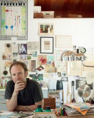 Steve Roden in his painting studio in Southern California - photo Leslie Williamson
